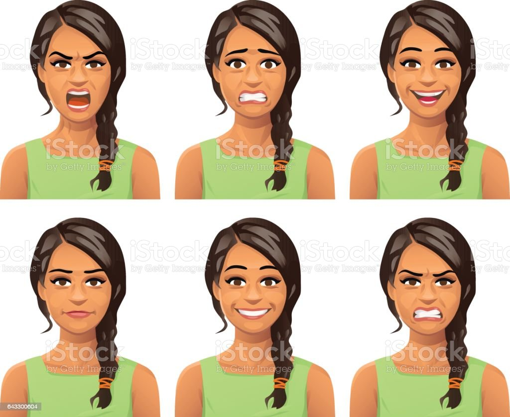 Young Woman Facial Expressions vector art illustration