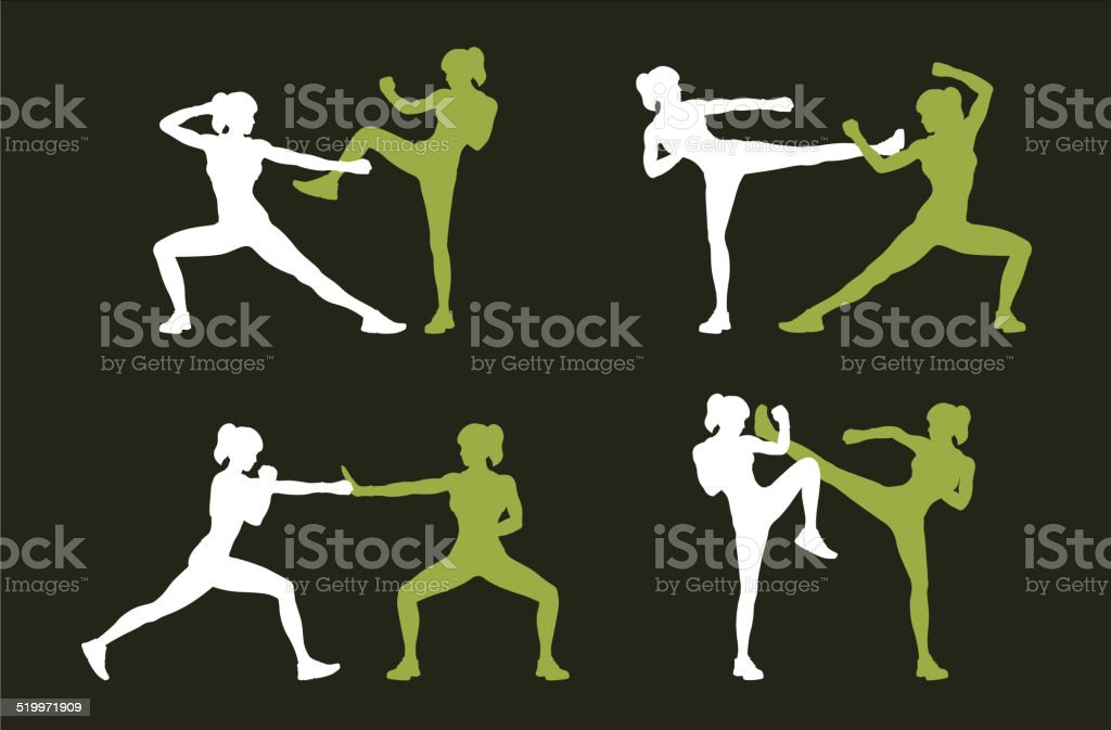 Young woman fighting body combat vector art illustration
