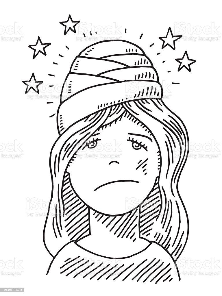 Young Woman Head Injury Drawing vector art illustration
