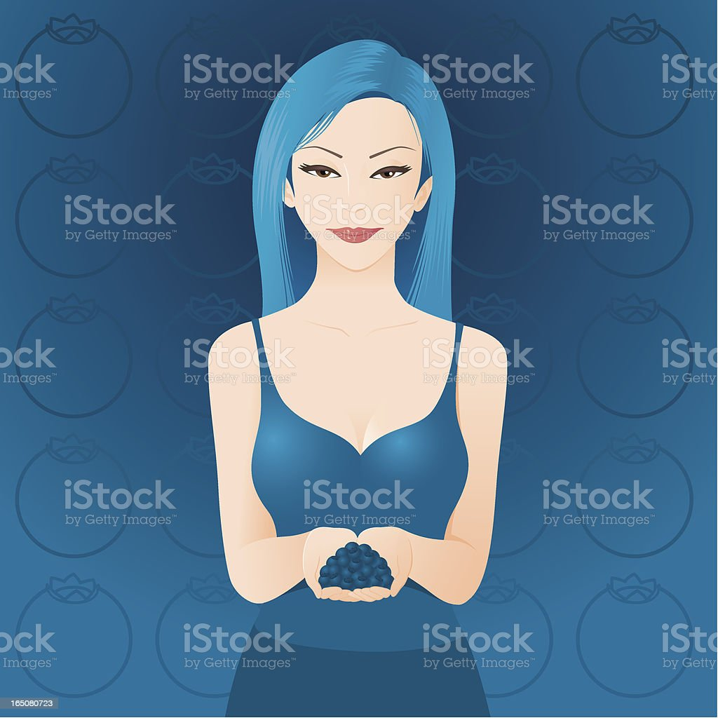 Young woman holding Blueberries royalty-free stock vector art