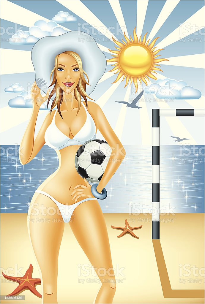 Young Woman Holding Soccer Ball on Beach vector art illustration
