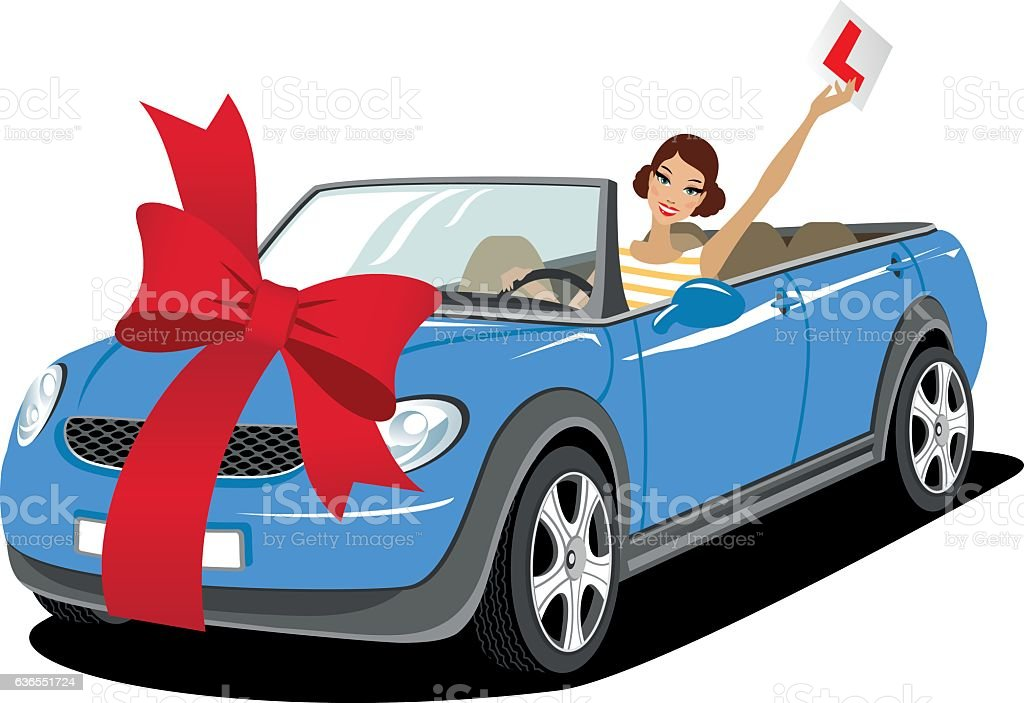 Young woman in a car vector art illustration