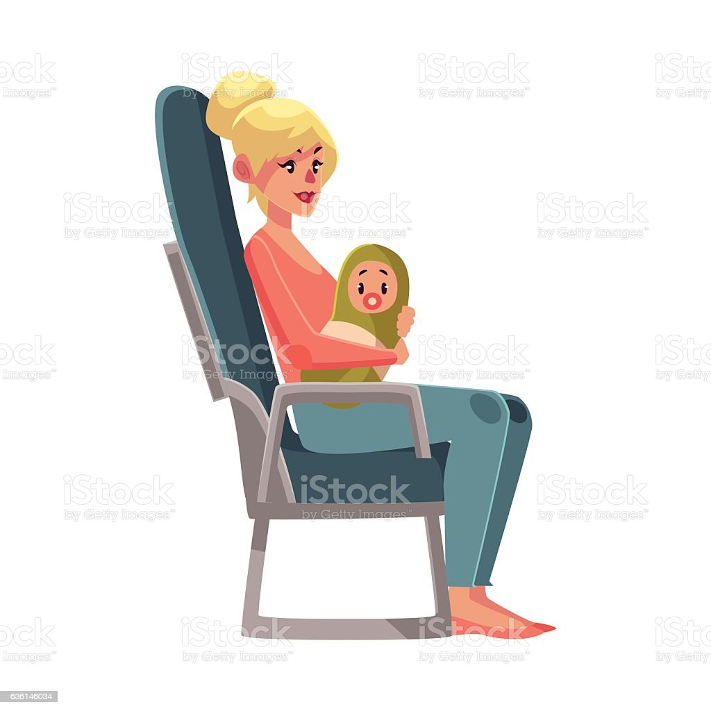 Young woman in airplane seat, economy class, holding little baby vector art illustration