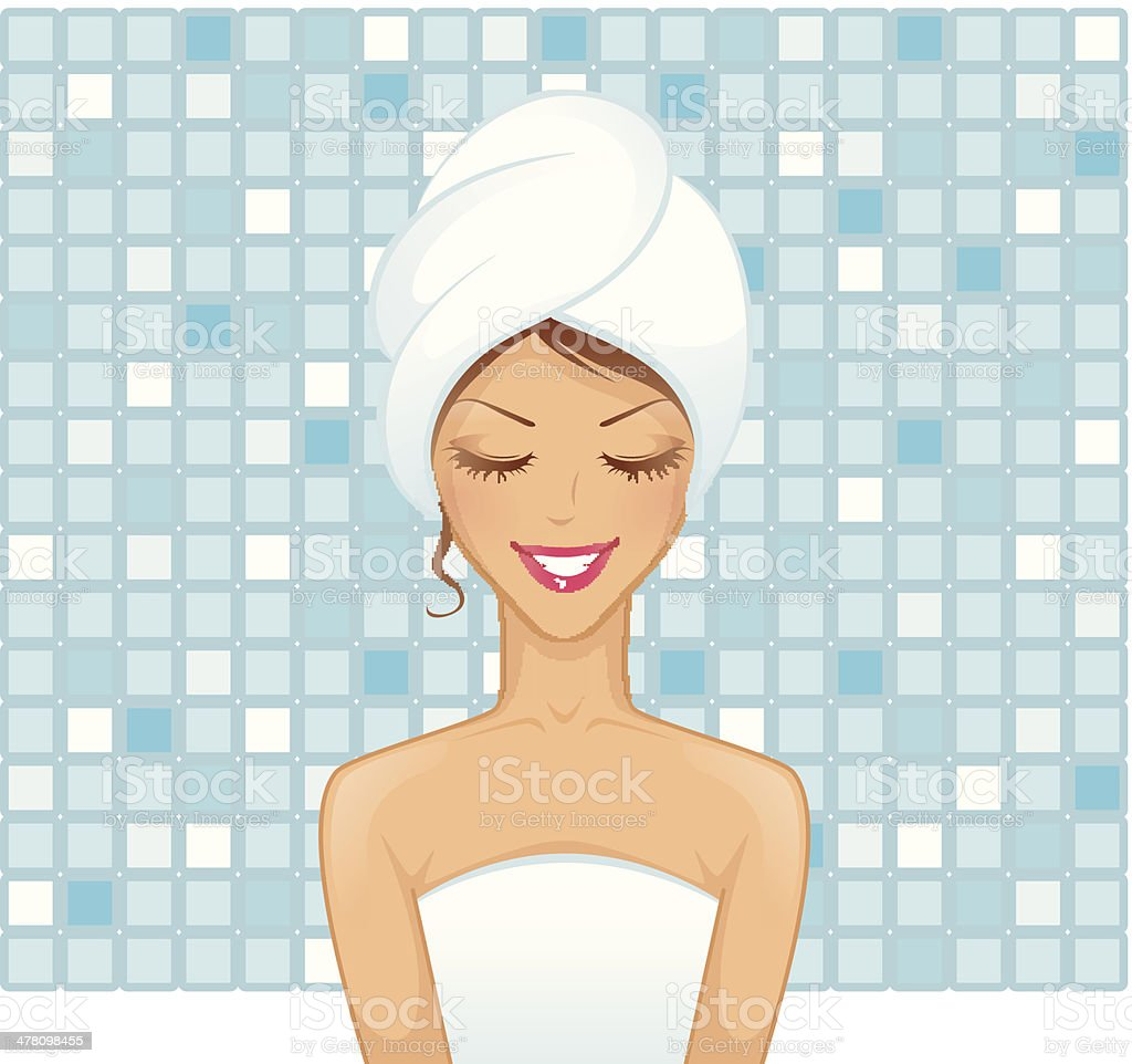 Young woman in bathroom royalty-free stock vector art