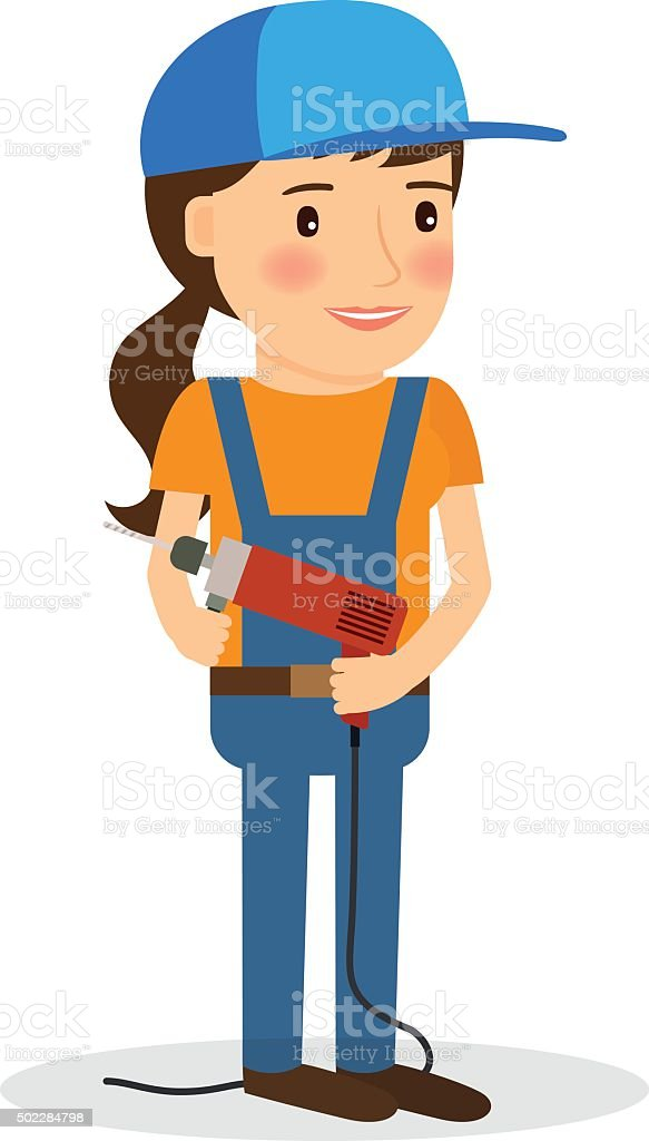 Young woman in coverall with screwdriver vector art illustration