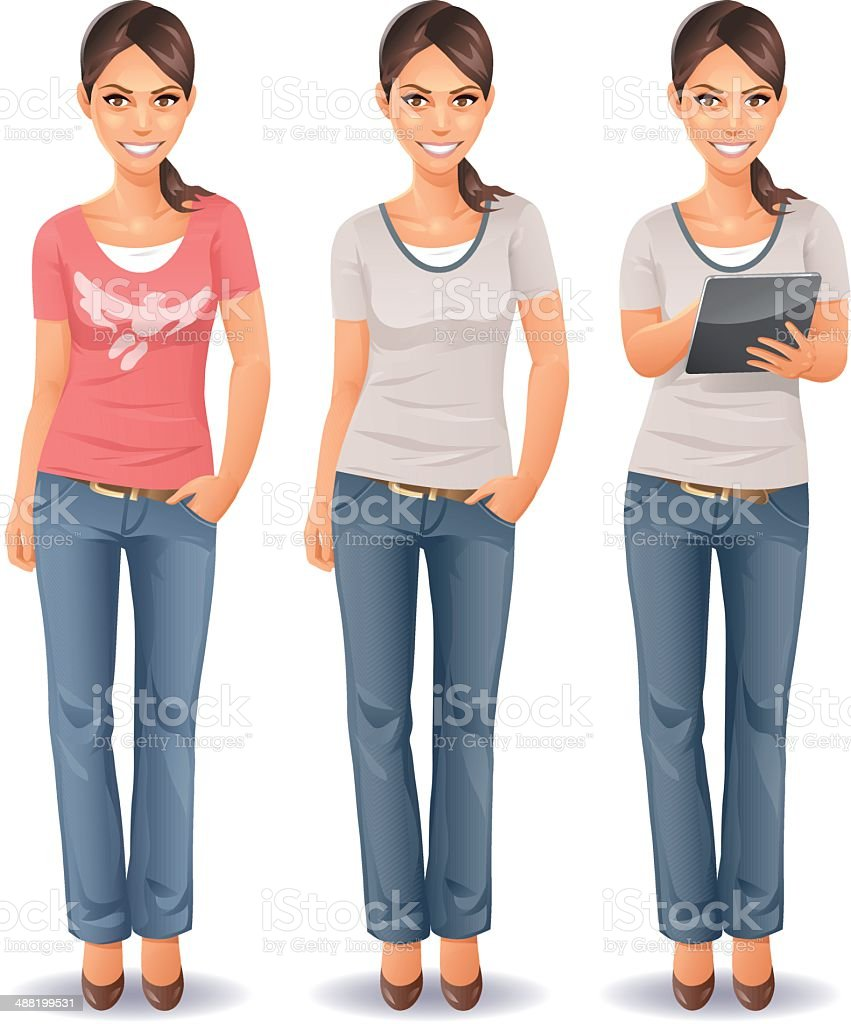 Young Woman in Jeans vector art illustration
