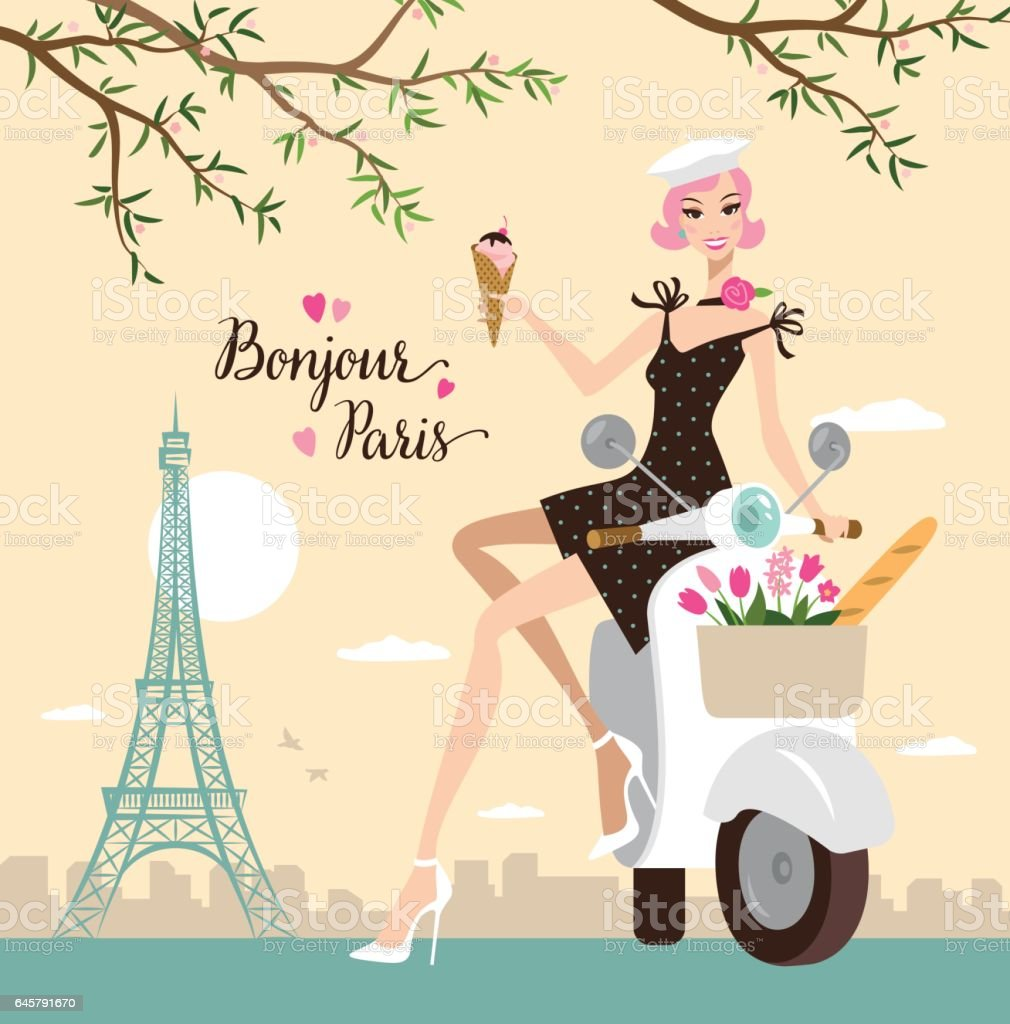 Young woman in Paris vector art illustration