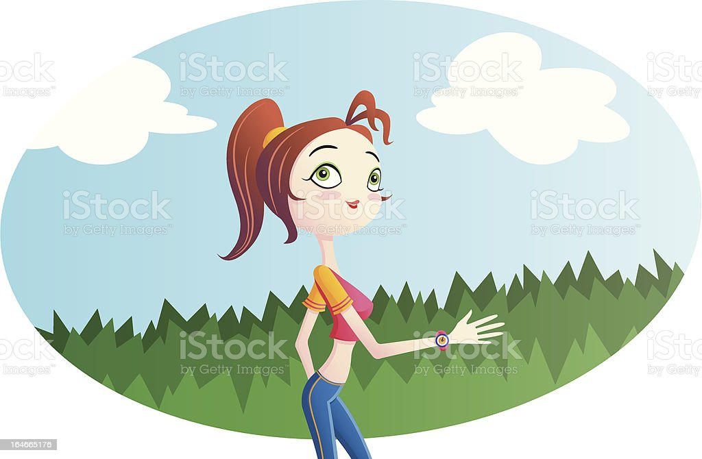 Young woman jogging outdoors royalty-free stock vector art