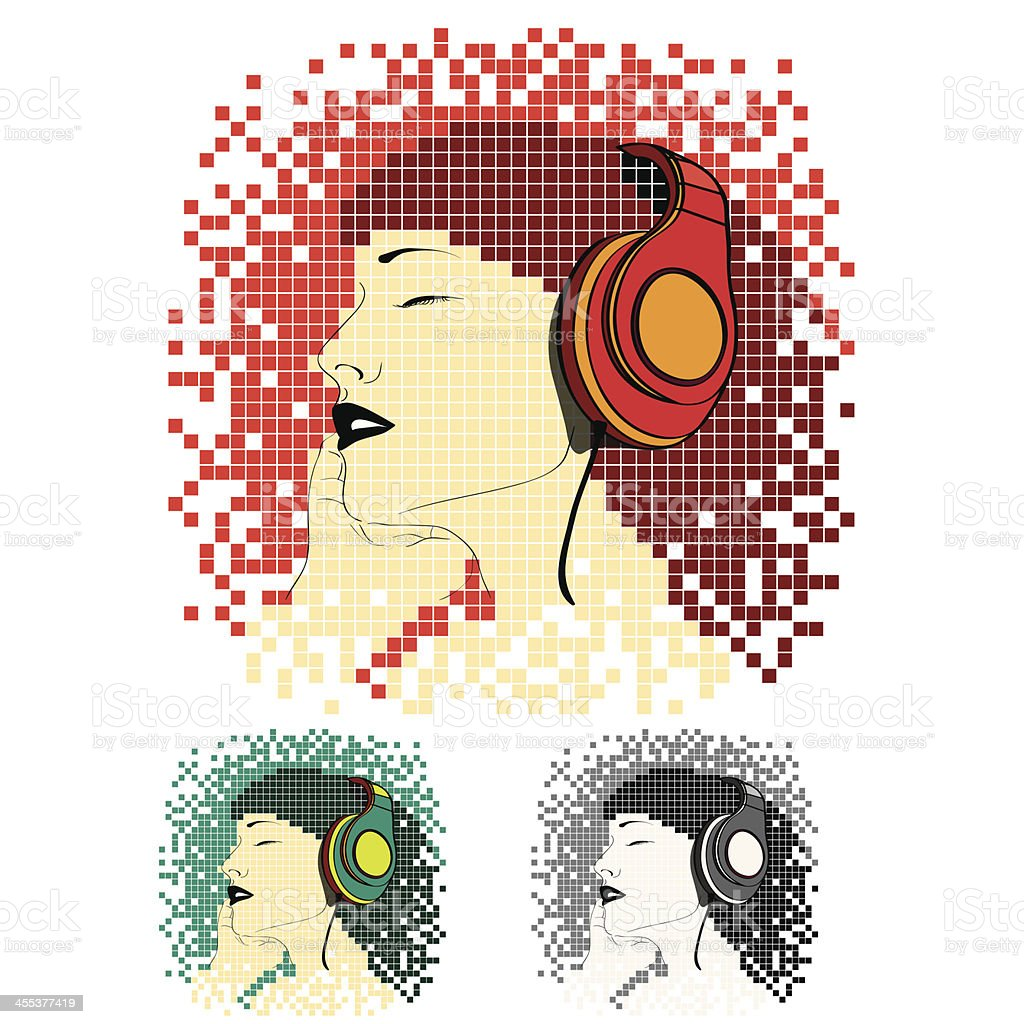 Young woman listening to music royalty-free stock vector art