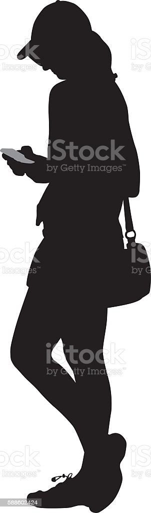 Young Woman Looking At Her Smart Phone vector art illustration