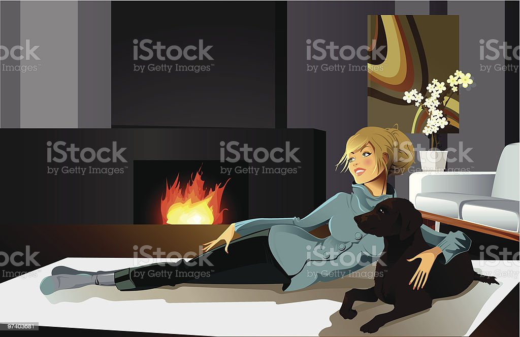 Young Woman Lying on Floor Near Fireplace with Dog vector art illustration