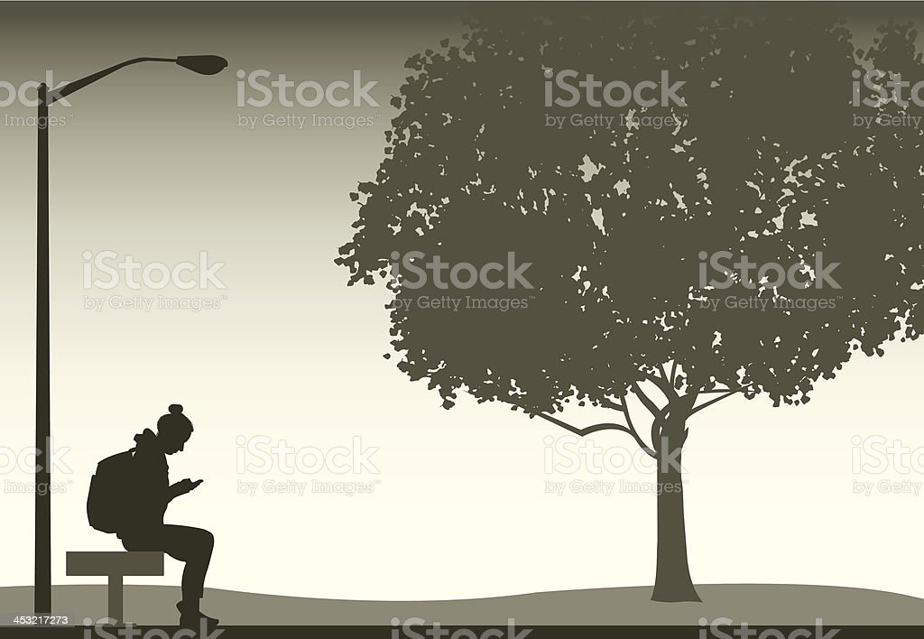 Young Woman or Girl Checking Cell Phone in Park vector art illustration
