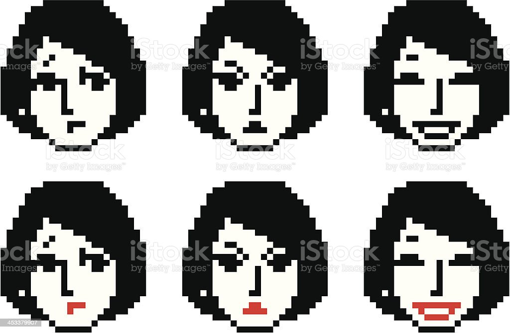 Young Woman Pixel Faces Two royalty-free stock vector art