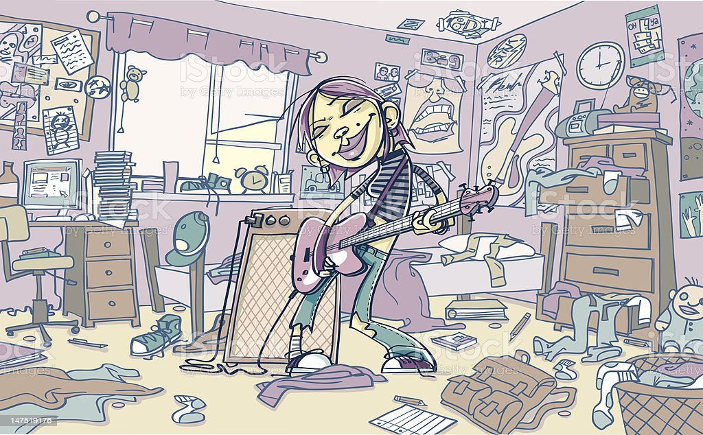 Young Woman Playing Guitar in Messy Room vector art illustration