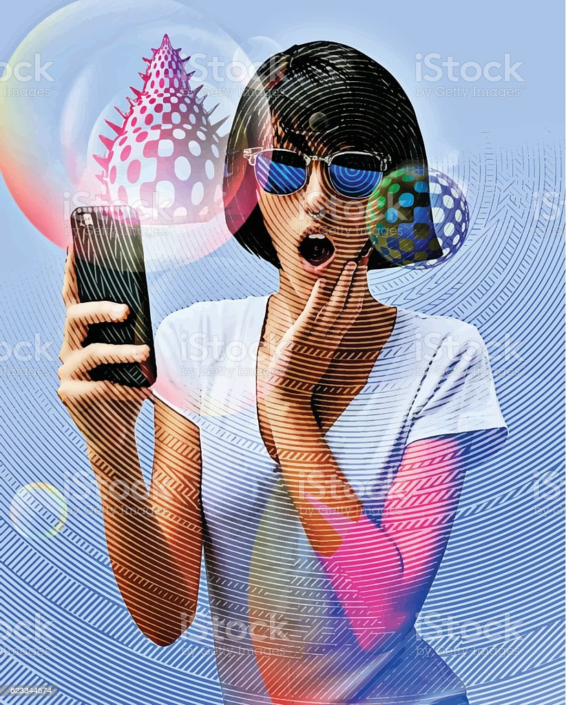 Young Woman Playing Mobile Games On Smart Phone vector art illustration
