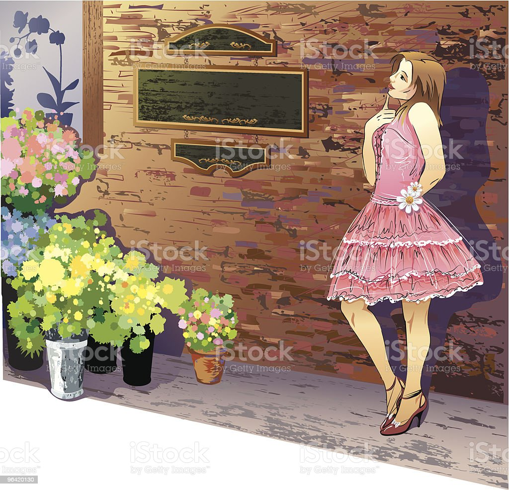 Young Woman Posing Outside Florist Shop royalty-free stock vector art