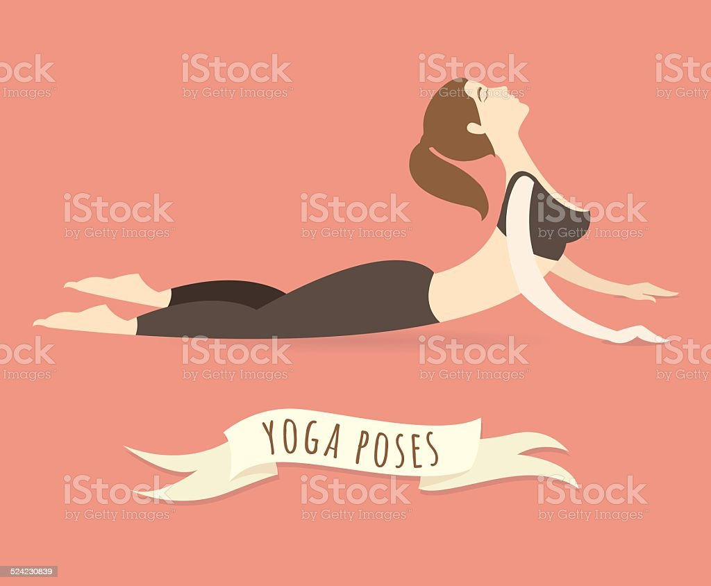 Young woman practicing upward facing dog pose. Flat style. vector art illustration