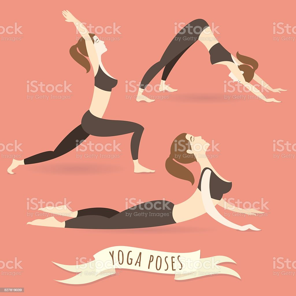 Young woman practicing warrior, downward and upward facing dog p vector art illustration