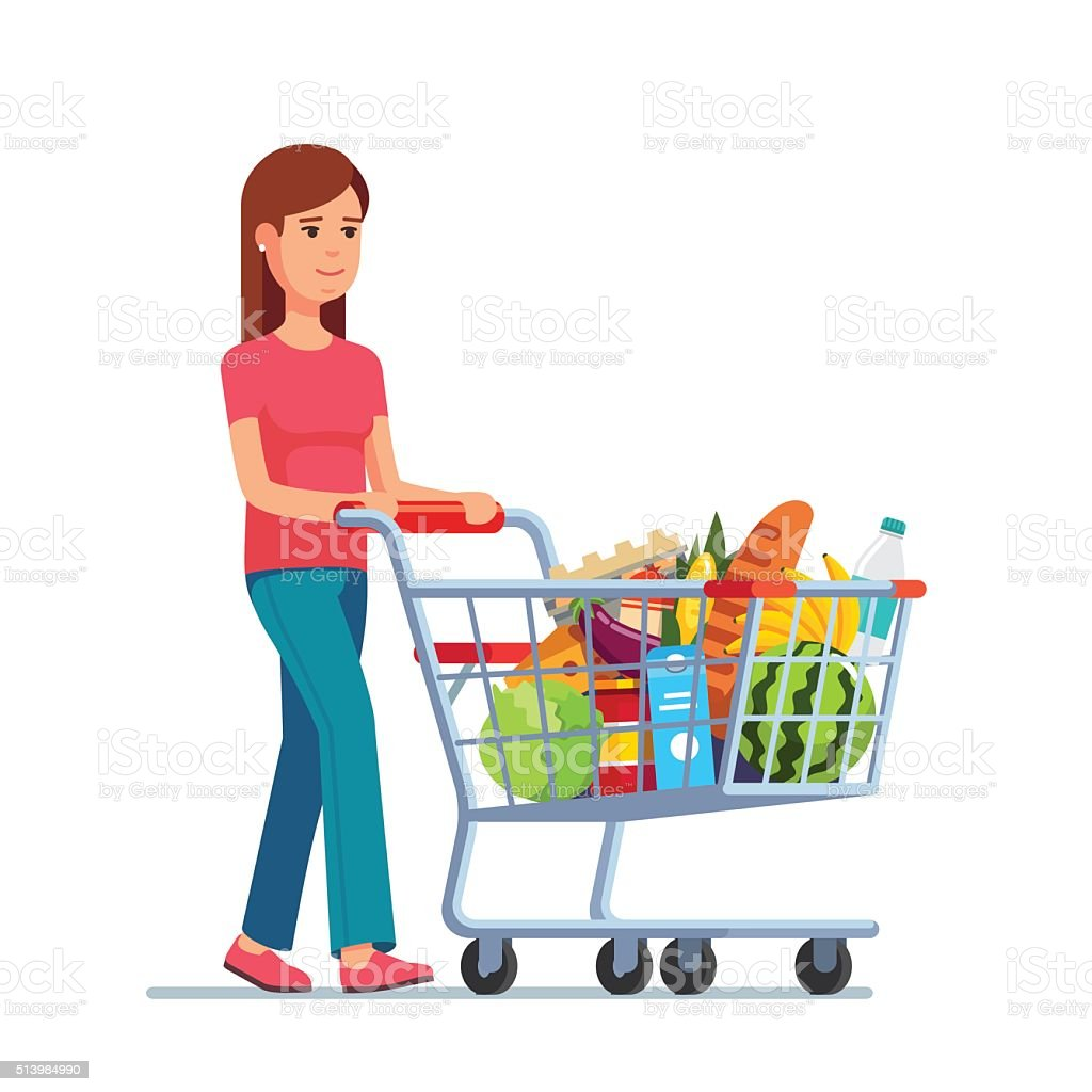Young woman pushing supermarket shopping cart vector art illustration