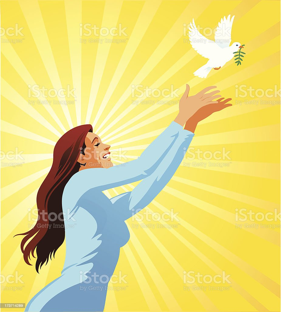 Young Woman Releasing a White Dove royalty-free stock vector art