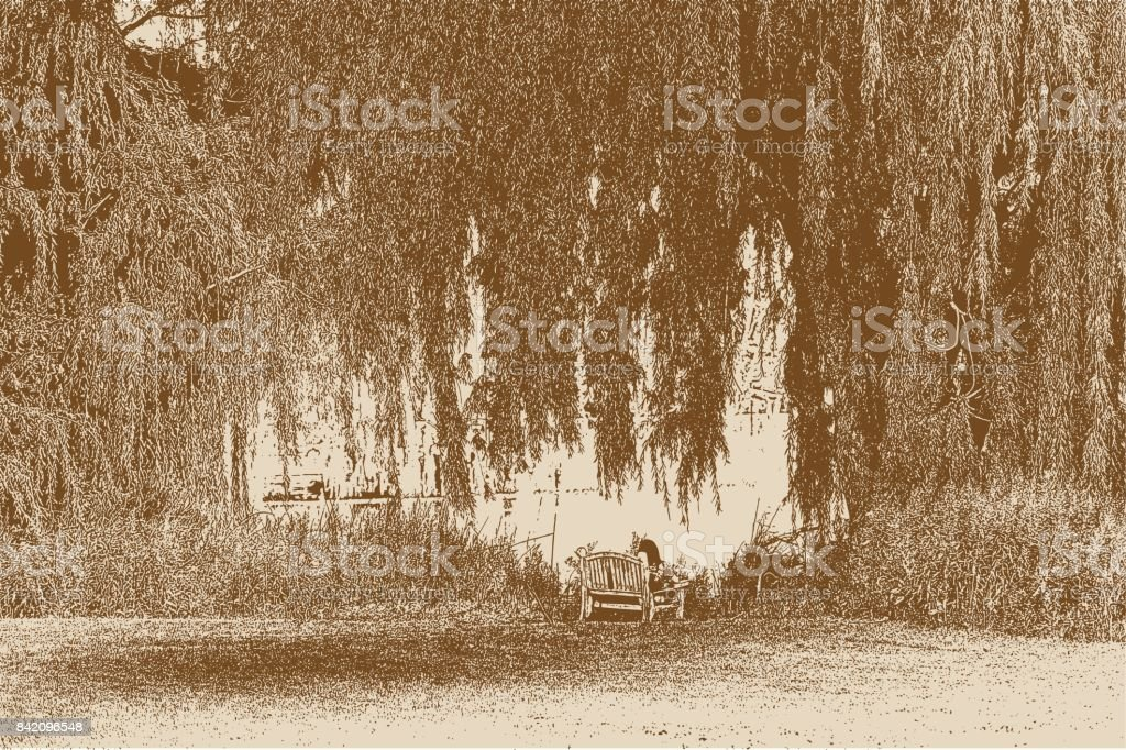 Young woman resting on bench under a willow tree vector art illustration