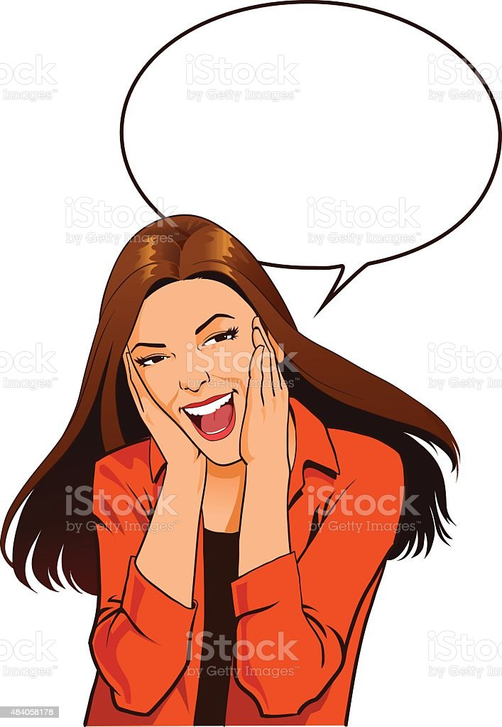 Young Woman Screaming with Excitement - Worked Up Teenager vector art illustration