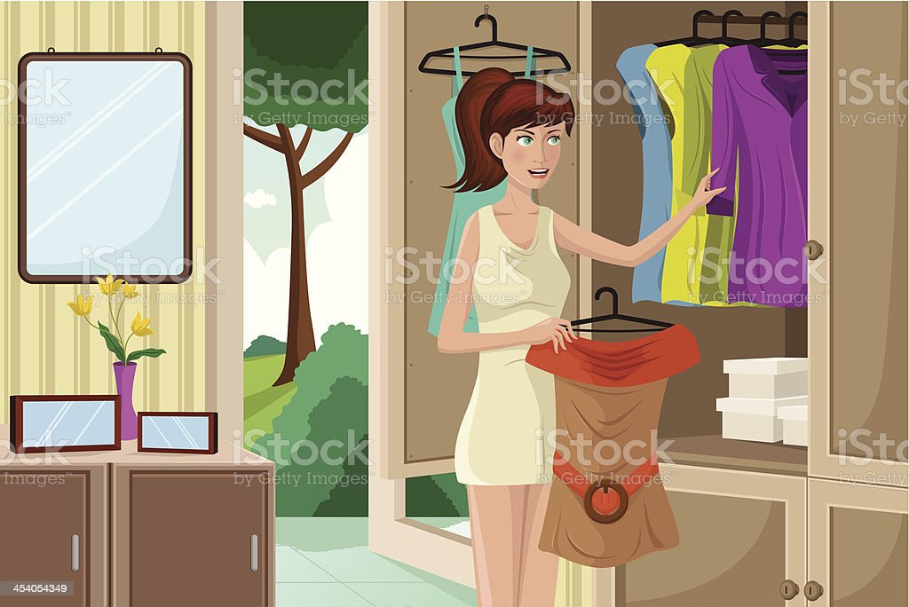 Young woman selecting an outfit royalty-free stock vector art