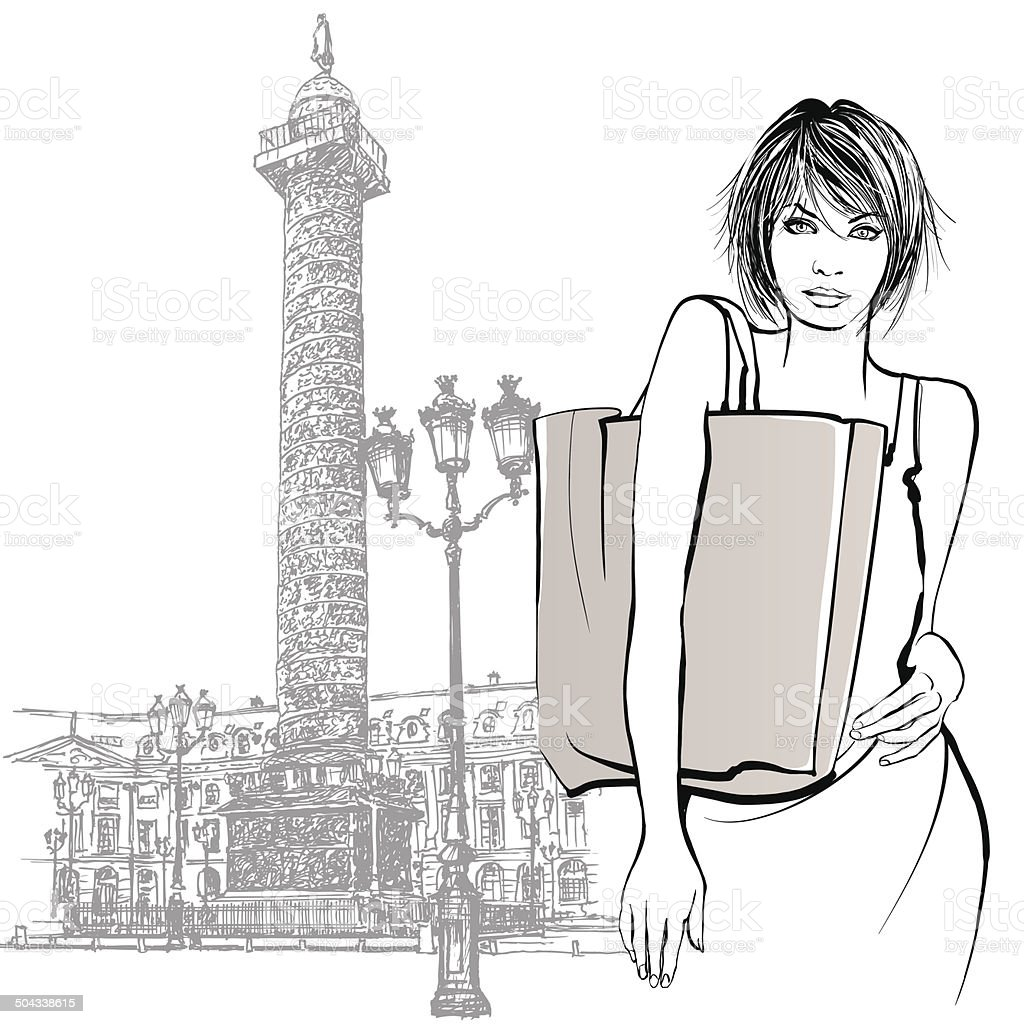 Young woman shopping in Paris royalty-free stock vector art