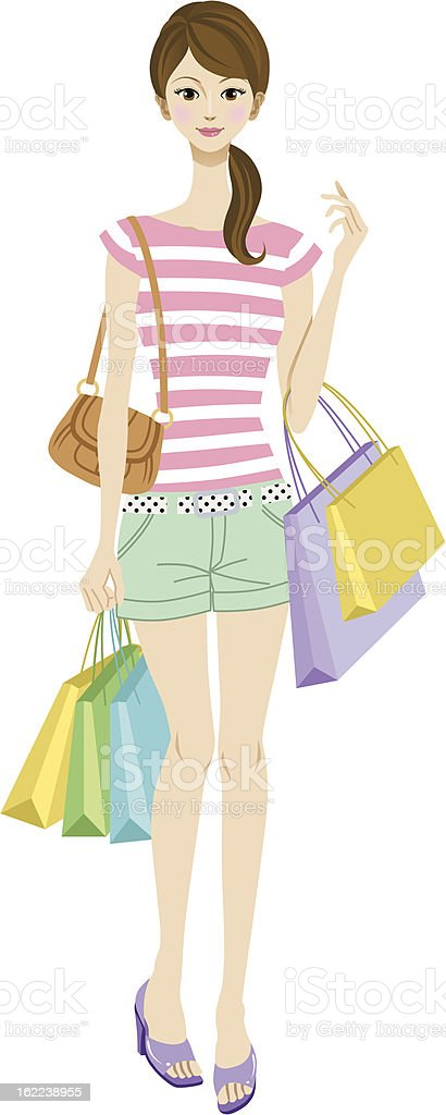 Young woman shopping vector art illustration