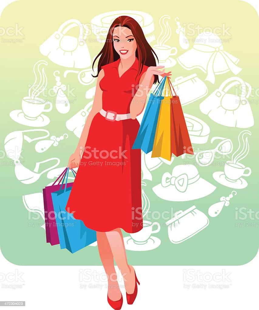 Young Woman Shopping royalty-free stock vector art