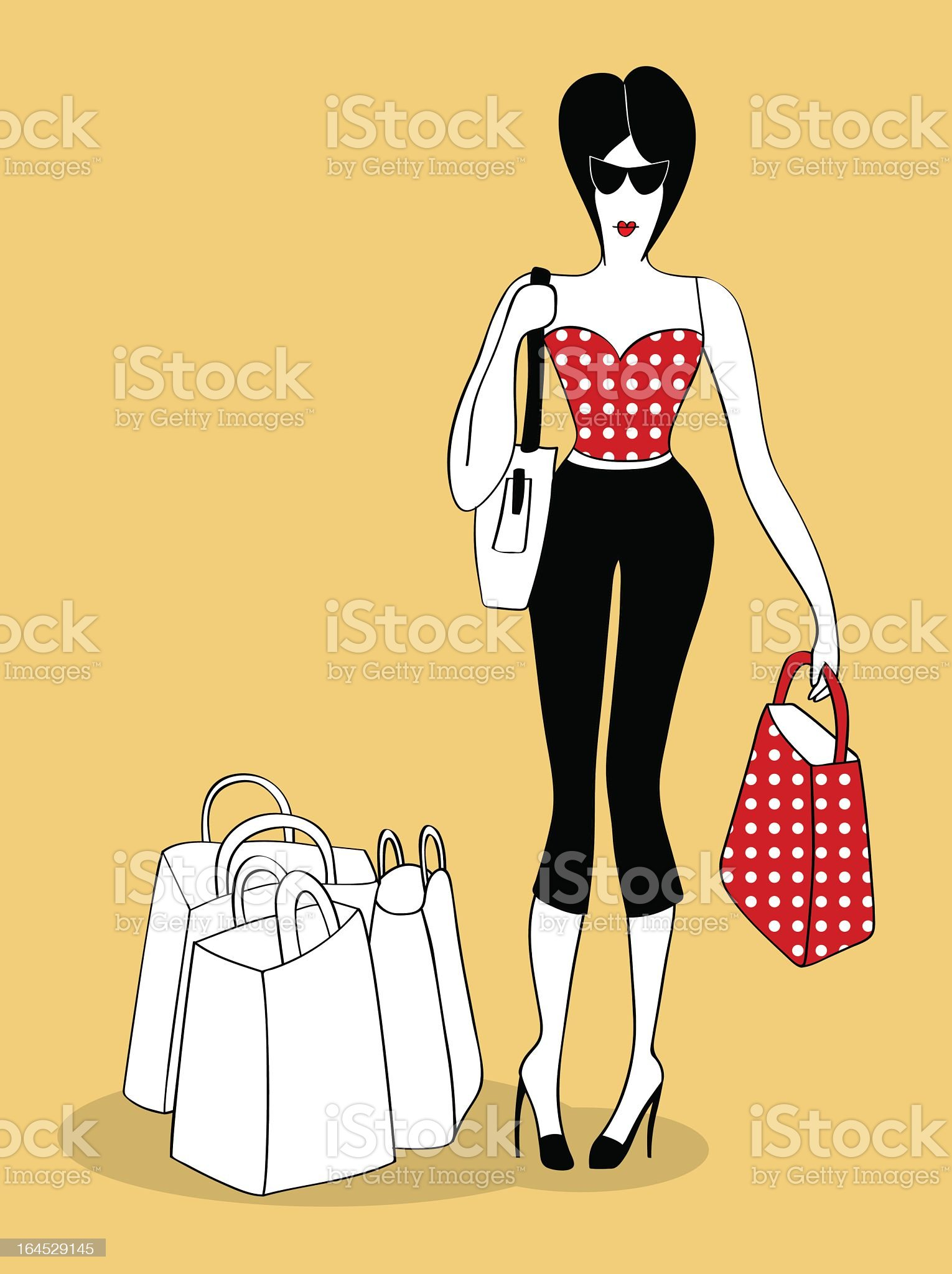 Young woman shopping with bags royalty-free stock vector art