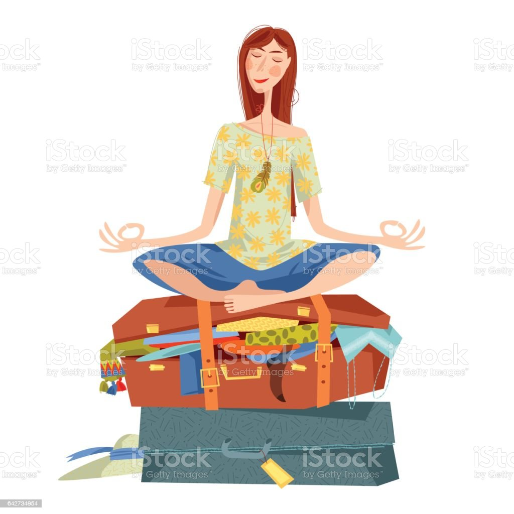 Young woman sits on overflowed suitcase in a yoga lotus pose and meditates. Preparing for journey. Travel concept. vector art illustration