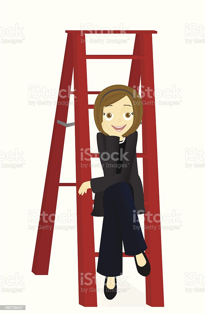 Young Woman Sitting on Ladder royalty-free stock vector art