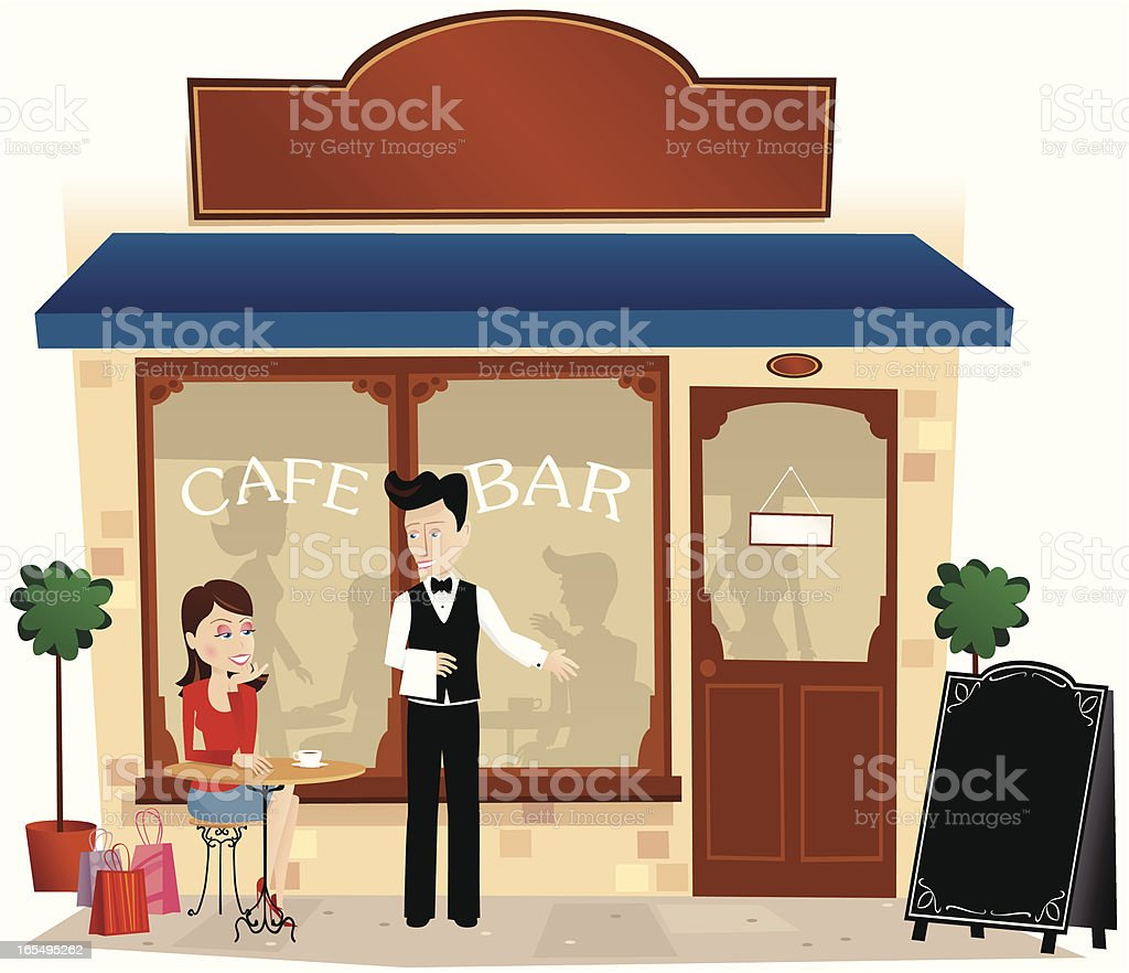 Young woman sitting outside cafe royalty-free stock vector art