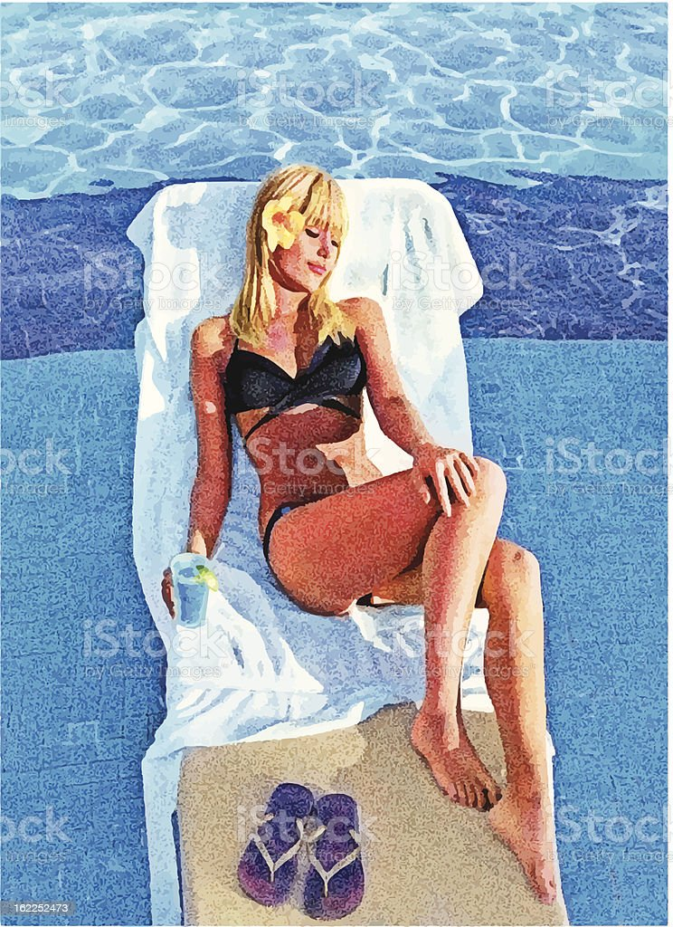 Young Woman Sunbathing In Resort Pool vector art illustration