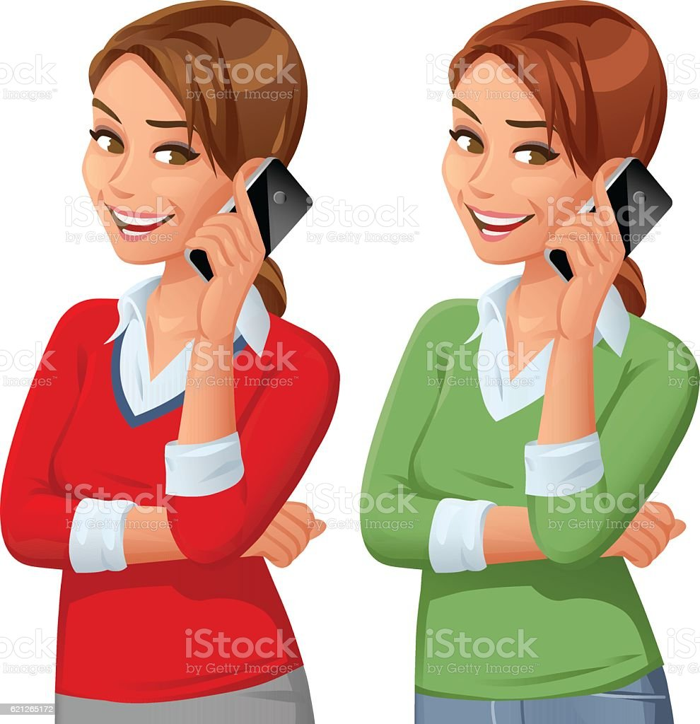 Young Woman Talking On Mobile Phone vector art illustration