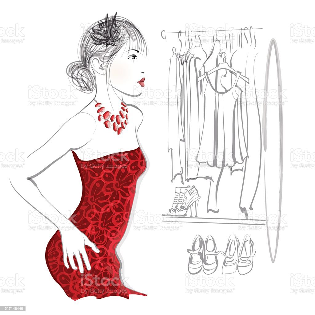 Young woman trying red dress vector art illustration