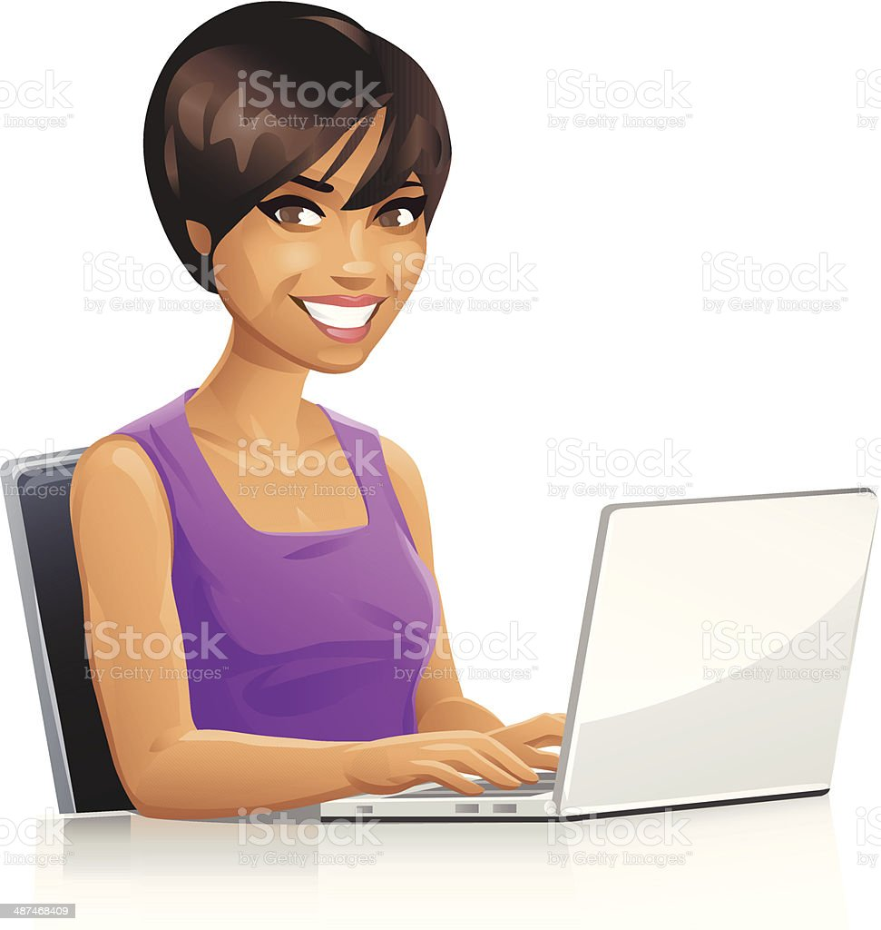 Young Woman Using Laptop royalty-free stock vector art