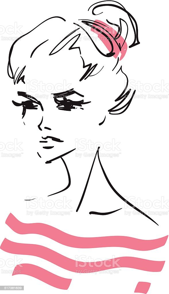 Young woman vector art illustration