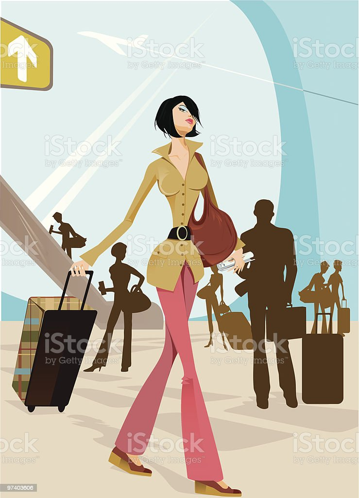 Young Woman Walking Through Airport with Rolling Luggage royalty-free stock vector art