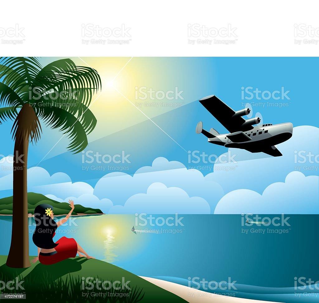 Young Woman Waving at Airplane Leaving Tropical Island vector art illustration
