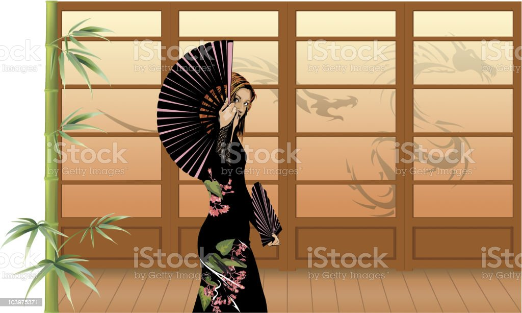 Young Woman Waving Chinese Fan in Front of Paper Screens vector art illustration