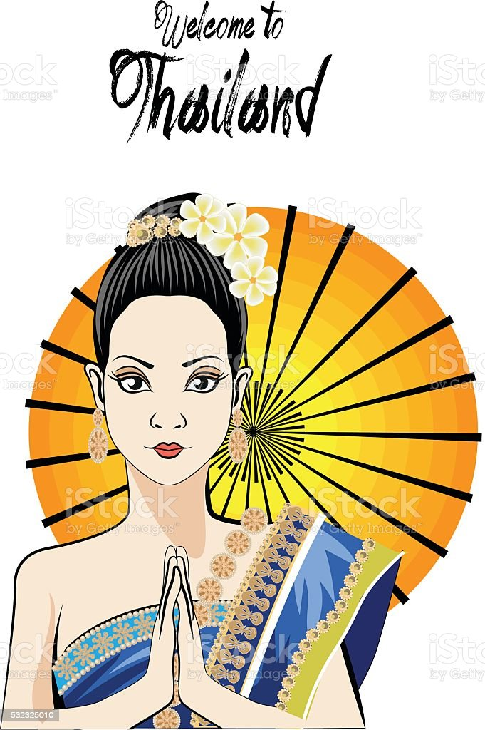 Young woman wearing typical thai dress , identity culture of thailand vector art illustration