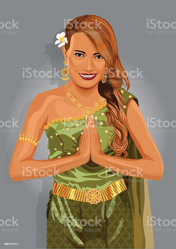 Young woman wearing typical thai dress, thailand. Vector illustration vector art illustration
