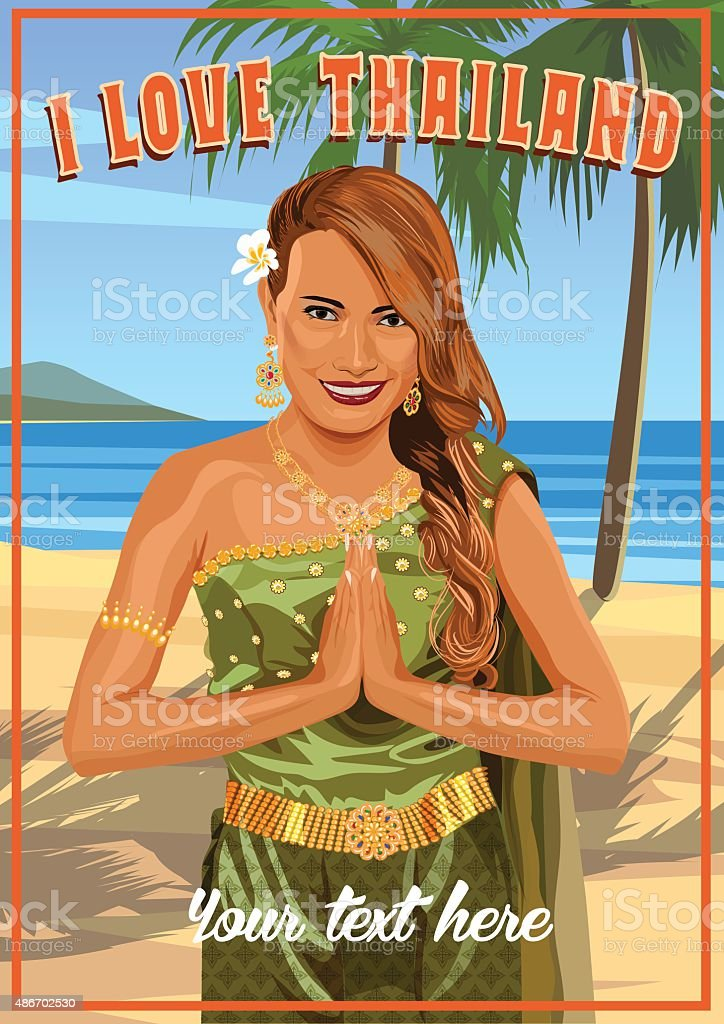 Young woman wearing typical thai dress with tropical beach background vector art illustration