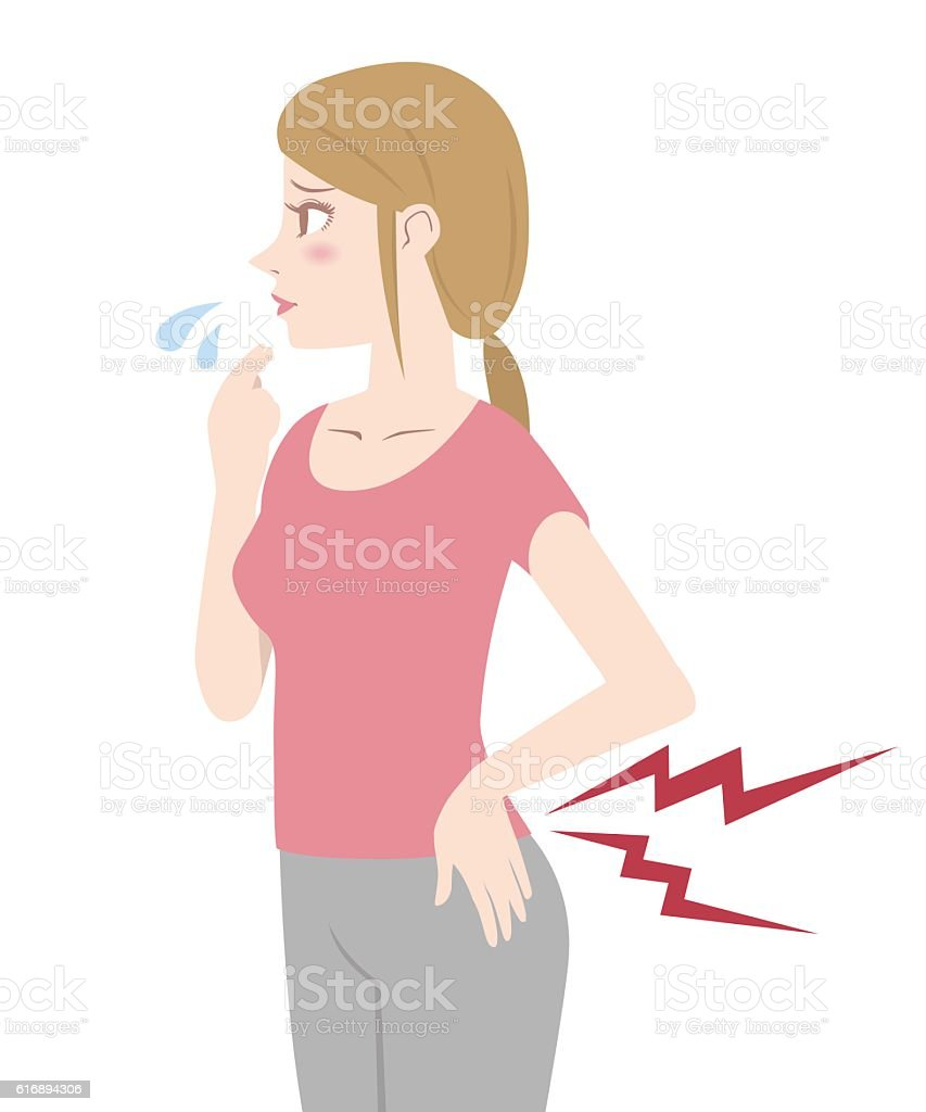 young woman who have a backache vector art illustration