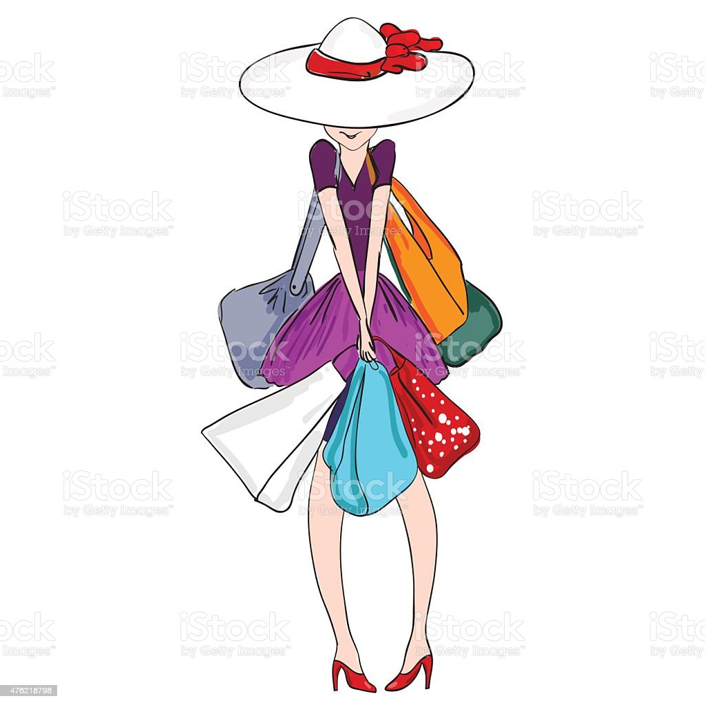 Young woman with bags vector art illustration