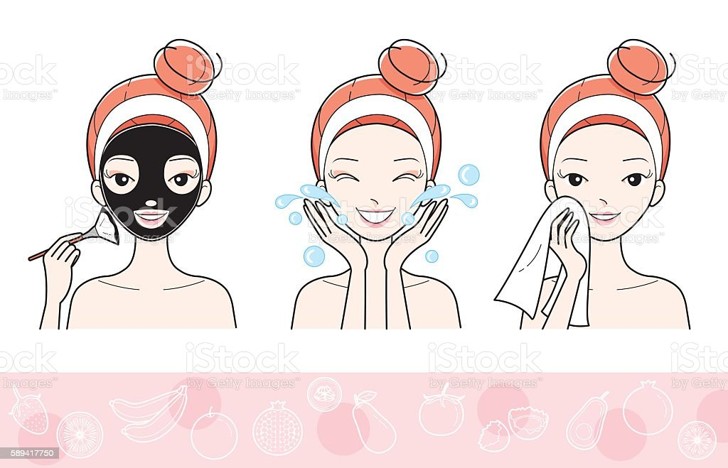 Young Woman With Facial Mask Step vector art illustration