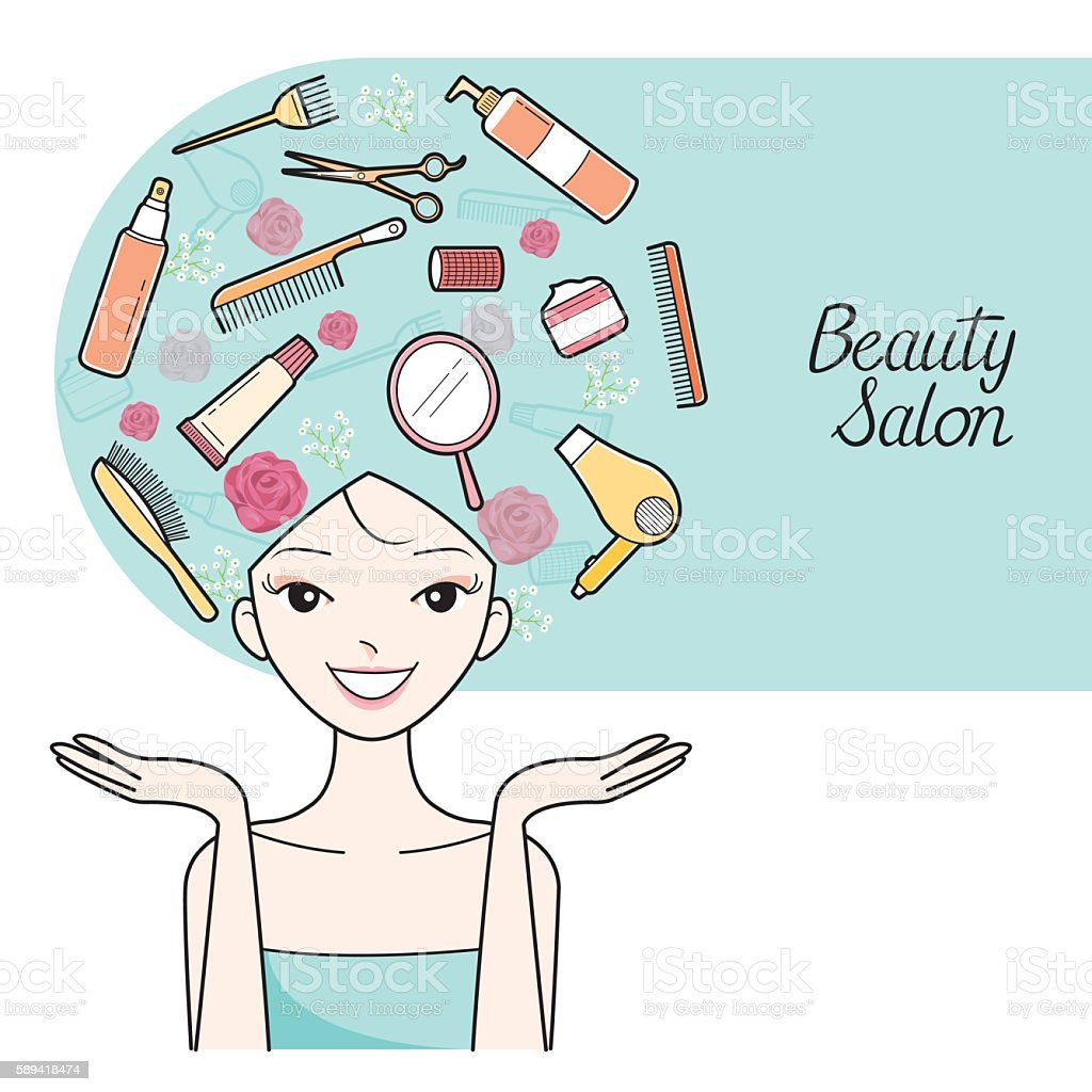 Young Woman With Hair Salon Equipment Set On Head vector art illustration