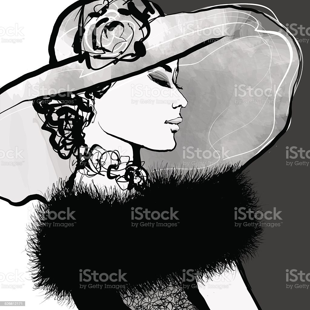 Young woman with hat and fur vector art illustration